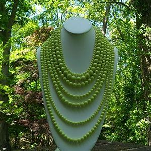 Jewelry - NWOT Custom HandCrafted 7-Layer Lime-Green Bib Nkl